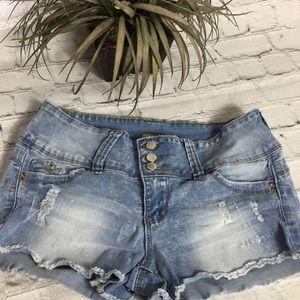 YMI Distressed Fringe Jean Shorts